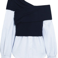 Jacquemus - One-shoulder striped cotton-poplin and ribbed-knit top