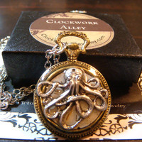 Octopus and Watch Face  Steampunk Pocket Watch Pendant Necklace  (1807)