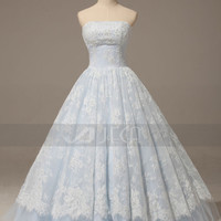 A-line Baby Blue Lace Wedding Dress Rustic Chic Wedding Dress Quinceanera Gown Prom Dress  W896