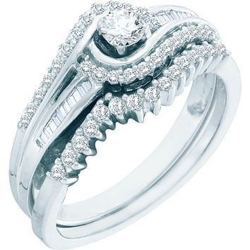 10kt White Gold Womens Round Diamond Swirl Bridal Wedding Engagement Ring Band Set 1/2 Cttw 57486