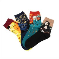 New Arrival Women Art Cotton Crew Socks of Fashion Painting Van Gogh  Pattern Harajuku Designer funny cute Novelty summer