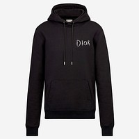 Dior 2019 new embroidered letter logo hooded hoodie Black