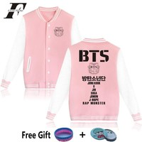 Trendy 2017 hit hop Kpop BTS kpop pink baseball Jackets Women men Winter bomber Jackets And Coats  tracksuit women basic coats AT_94_13