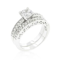 Kimmy Filigree 1ct Round CZ Engagement & Wedding Ring Set | 2.8ct