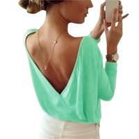 2017 Candy Color Sexy Summer Women T-Shirts Top Sexy Open Back Deep V T Shirts Casual Long Sleeve Girls Tee Shirts Female GV566
