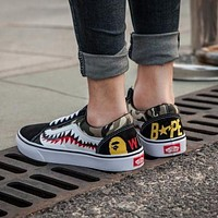 BAPE x Vans Old Skool Custom Sharktooth Low Sneakers Convas Casual Shoes CK-01