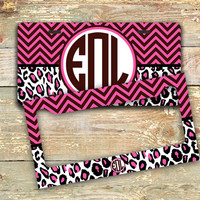 Monogrammed chevron license plate or frame - Dark hot pink, brown - personalized car tag car accessory monogram bike license plate (1295)