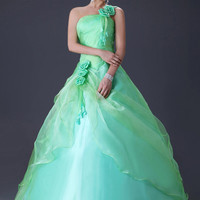 Green One Shoulder Flower Beaded Prom Dress