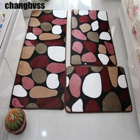 3 pcs/set Large Size Coral Fleece Tapete Anti Slip Bathroom Kitchen Carpet Doormat Soft Floor Mat Rugs for Kitchen Salle De Bain