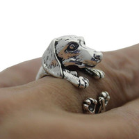 Vintage Mangy Dog Ring Men Womens Silver Adjustable Ring + Gift Box