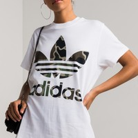 adidas Big Trefoil Relaxed Cotton Tee in White