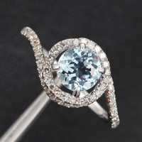 Round Aquamarine Engagement Ring Pave Diamond Wedding 14K White Gold 6mm  Claw Prong