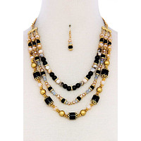 Women Casual Fashion Necklace Multi Beaded Three Layer Necklace And Earring Set