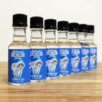 Custom Bachelor Party Favors Mini Bottle Liquor Labels & Empty 50 mL Bottles Alcohol Pinup Bottoms Up I Do Thank You Groomsmen Gifts EB-1022