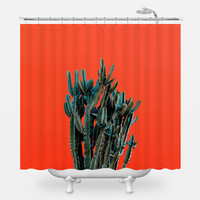 Cactus on Red Shower Curtain