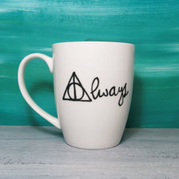 Harry Potter always quote white coffee mug - hand painted mug, for her gift.