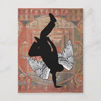 Handstand Dancer Angel Wings Red Mandala Postcard