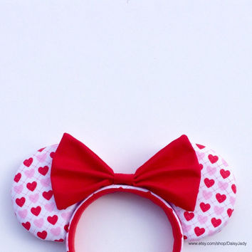 Love & Hearts with Red Bow Mouse Ears Headband