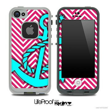 Pink/White V2 Colored Chevron and Turquoise Anchor Skin for the iPhone 5 or 4/4s LifeProof Case