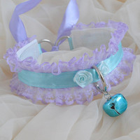 Pastel kitty - lilac and blue lace collar with bell and leash ring - kawaii cute kitten space pet play BDSM