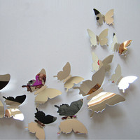 12pcs/set Mirror Sliver 3D Butterfly Wall Stickers Party Wedding Decor DIY Home Decorations