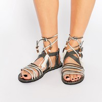 Free People Willow Grey Tie Up Gladiator Sandal