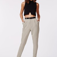 Missguided - Uttara High Waisted Tailored Belted Trouser Grey