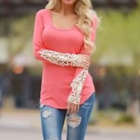 USA SELLER PICK SIZE S M L Crochet Sleeve Lace Coral Boutique Top Shirt Tunic