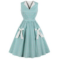 Wipalo Hepburn Vintage Dress Women Green Plaid Check Print Bowknot Pockets Pin Up Vestidos Summer A-Line Party Dresses Plus Size