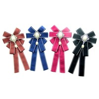 Women Classic Brooches Corsage Imitation Pearl Bow Brooch Pins Jewelry Accessories Bowknot Ribbon Broches Party Clothes Decor