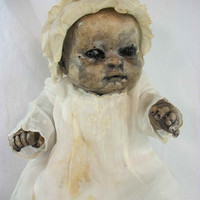 "One of A Kind Altered Art Creepy Doll ""Baby Rosemary"" Abstract Scary Odd Weird L.Cerrito Salvage Artist Doll"