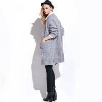V Neck Pure Color Loose Knit Cardigan Sweater Outerwear