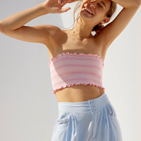 Silence + Noise Ruffle Smocked Strapless Top | Urban Outfitters