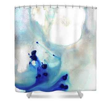 Blue And White Art - A Short Wave - Sharon Cummings Shower Curtain