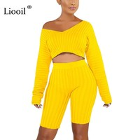 Liooil Black Two Piece Set Winter Off Shoulder Sexy 2 piece Set Top and Pants Outfits for Women Green Yellow 2019 Matching Sets