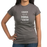 Couch Cats Pizza Big Bang Theory T-Shirt> Couch My Cats Pizza Big Bang Theory> Sheldon To Mr Darcy Art by Alice Flynn
