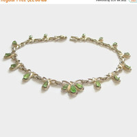 ON SALE Art Deco Rhinestone Necklace, Green Crystal Choker, Designer Signed Barclay, Vintage Costume Jewelry