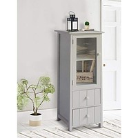 """35.58"""" 2-Drawer Wooden Storage Cabinet with Glass Door and Round Knobs, White By The Urban Port"""