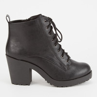 SODA Lace Up Womens Heeled Combat Boots | Boots & Booties