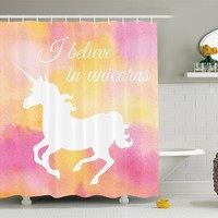 I Believe In Unicorns Pink Fabric Shower Curtain