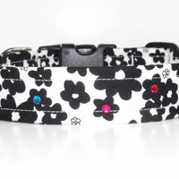 Black and White Floral Dog Collar with Rainbow Glass Crystals