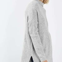 Oversized Long Line Funnel Jumper - Sweaters & Knits - Clothing