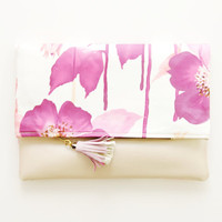 BLOSSOM / Floral satin & Leather clutch -Ready to Ship