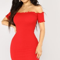 Hermoine Ribbed Dress - Red