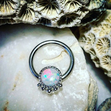 16G  Silver Opal Septum Ring | Piercing Gem Stone Nose Ring Silver Septum Ring Tribal White Opal Septum Ring Daith Hoop Helix Nipple Ring