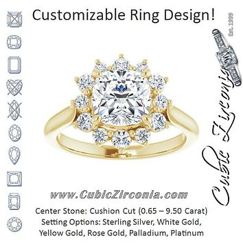 Cubic Zirconia Engagement Ring- The Honoka (Customizable Crown-Cathedral Cushion Cut Design with Clustered Large-Accent Halo & Ultra-thin Band)