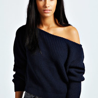 Natalie Slash Neck Crop Fisherman Jumper