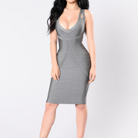 Tease Me Baby Bandage Dress - Grey