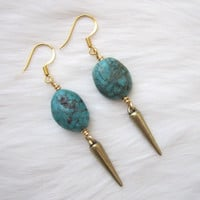 BLACK FRIDAY. Turquoise Earrings. Natural Turquoise. Brass Spike Earrings. Victory Jewelry.