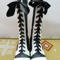 Black And White Ribbon Tied PU Lolita Boots